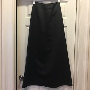 Formal Long Black Satin Skirt